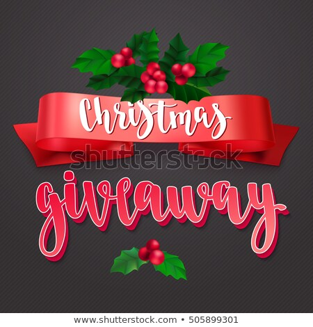 Christmas Giveaway. Handwritten modern lettering with golden confetti and Santa thumb up on black ba Stock photo © ikopylov