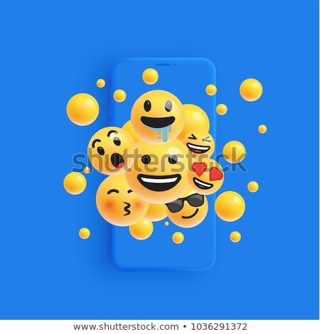 gelukkig · Geel · 3D · emoticon · gezicht · telefoon - stockfoto © cienpies