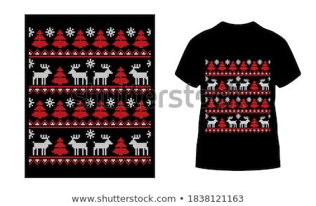 Merry Christmas season graphic print, t shirt design for xmas party. Holiday decor with gift box, mu Stock photo © JeksonGraphics
