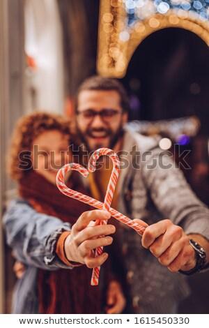 конфеты тростник любви сердце Рождества два человека Сток-фото © lovleah
