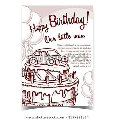 Birthday Cake Decorated With Car Banner Vector Stock photo © pikepicture