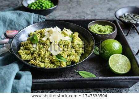 Pesto alimentare sfondo verde bianco Foto d'archivio © Alex9500