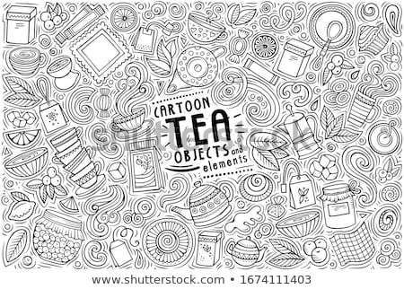 Set of Coffee cartoon doodle objects, symbols and items Stock photo © balabolka