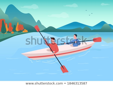 Background scene with athletes canoeing in the ocean Stock photo © bluering