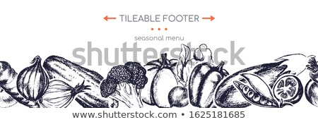 Organic vegetables - hand drawn vector seamless footer Stock photo © Decorwithme