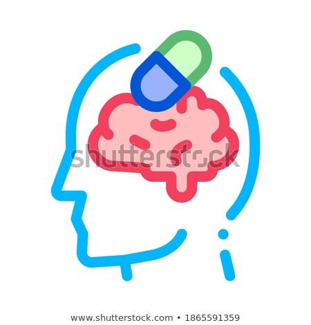 Tabletták drogok férfi sziluett fejfájás vektor Stock fotó © pikepicture