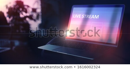 Self Development Concept Live Streaming On Notebook 3d Foto stock © Tashatuvango