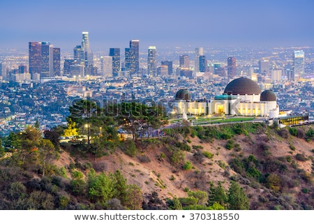 Los · Angeles · nacht · gebouw · Blauw · skyline · standbeeld - stockfoto © tobkatrina