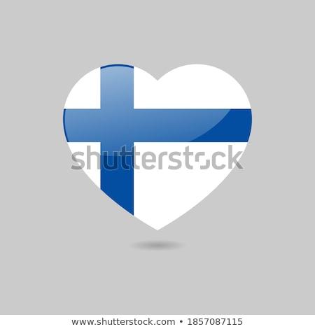 Finnország zászló fehér háttér keret kék Stock fotó © butenkow