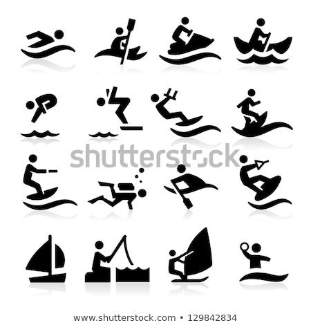 Wektora jet ski czarny ikona wody sportu Zdjęcia stock © nickylarson974