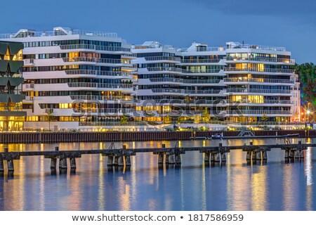 Modern lakás ház folyó Berlin Németország Stock fotó © elxeneize