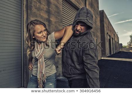 Boksen vechter vrouw aanval witte jurk vak Stockfoto © pekour