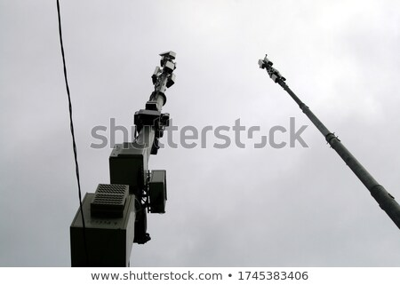 Kommunikáció felhős magas fém építkezés edény Stock fotó © Klodien