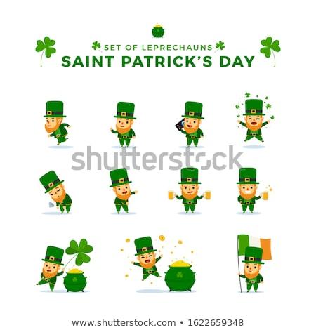 retrato · irlandês · homem · trevo · folha - foto stock © indiwarm