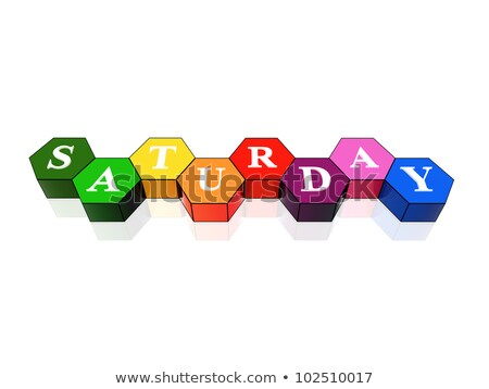 saturday in 3d coloured hexagons Stock photo © marinini