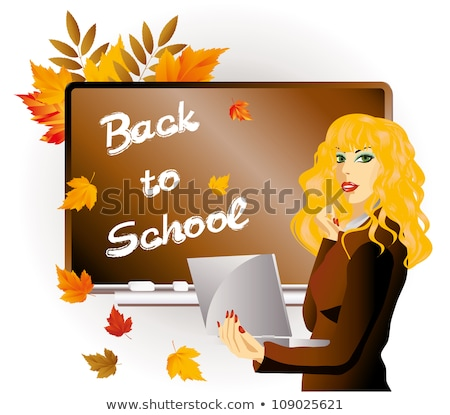 Back to school  The teacher with a portfolio and maple leaves, vector illustration Stock photo © carodi