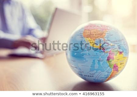 üveg · földgömb · billentyűzet · közelkép · üzlet · Föld - stock fotó © pakhnyushchyy