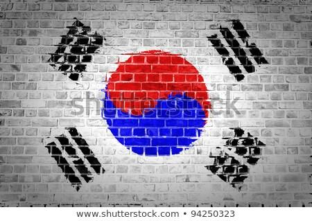 Bandera Corea del Sur pared de ladrillo pintado grunge edificio Foto stock © creisinger