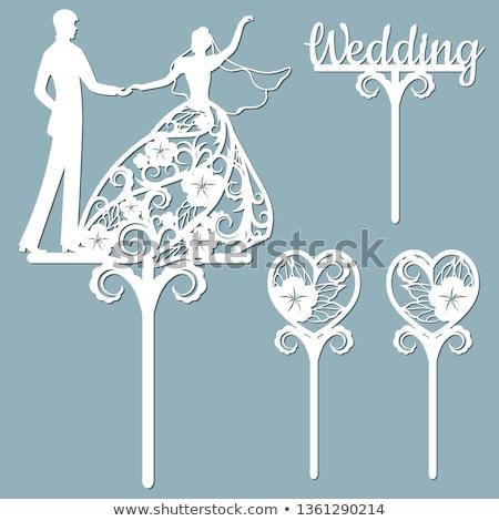 elegáns · esküvői · torta · fehér · virágok · virág · étel · esküvő - stock fotó © alphababy