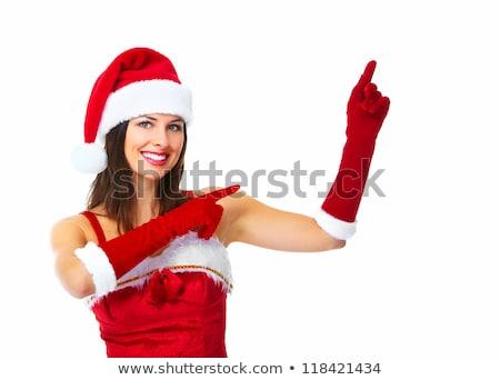 Mikulás segítő karácsony lány gyönyörű izolált Stock fotó © Kurhan