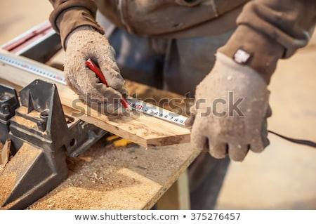 homem · fita · métrica · parede · lápis · trabalhador - foto stock © photography33