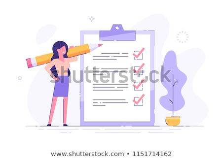 Nő tart clipboard portré üres papír izolált Stock fotó © vankad