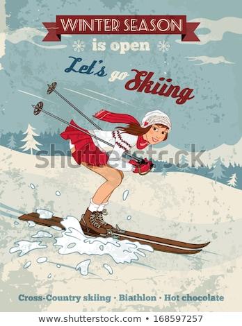 beautiful christmas pinup girl Stock photo © carlodapino