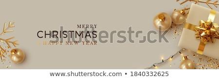 Noel altın renk kar tanesi atış beyaz Stok fotoğraf © maisicon