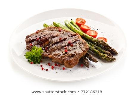 plaat · groenten · frietjes · biefstuk · achtergrond · vlees - stockfoto © m-studio