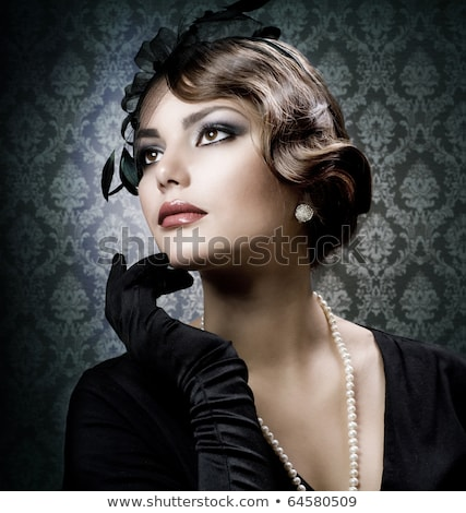 Сток-фото: женщину · черный · белый · ретро-стиле · романтические · красоту