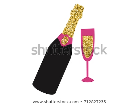 glasses with champagne and invitation card isolated on white background stock photo © luckyraccoon