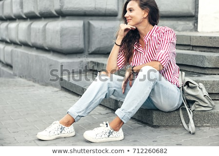 woman wearing striped blouse stock photo © chesterf