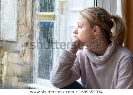 小さな 悲しい 女性 後ろ ぬれた ウィンドウ ストックフォト © utorro