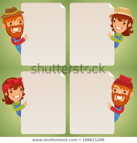 Farmers Cartoon Characters Looking at Blank Poster Set Stock photo © Voysla