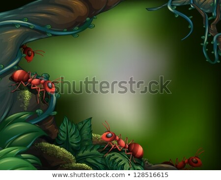 Red ant on green moist leaf Stock photo © Anterovium