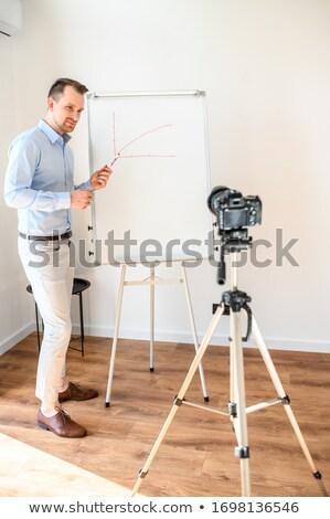 Attrattivo imprenditore insegnante marcatore business istruzione Foto d'archivio © dolgachov