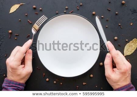 mani · tavola · calorie · piatto · femminile · tavola - foto d'archivio © stevanovicigor