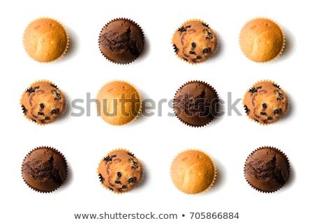 Muffins chocolade cake witte dessert taart Stockfoto © yelenayemchuk