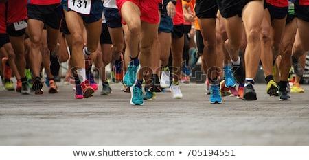 Maraton İkincisi sokak kalabalık jogging hareket Stok fotoğraf © gemenacom