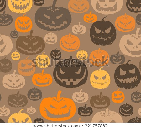 seamless pattern of pumpkins with different emotions stockfoto © elenapro