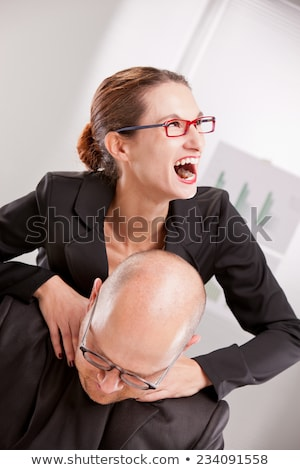 mad businesswoman strangling a man Stock photo © Giulio_Fornasar