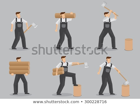 cartoon man swinging axe Stock photo © lineartestpilot