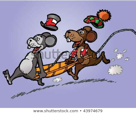 Two appealing mice carrying a stretcher. Stock photo © HennieV
