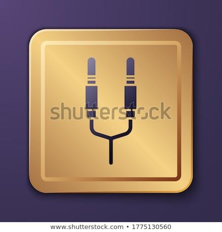 Plugue assinar ouro vetor ícone botão Foto stock © rizwanali3d