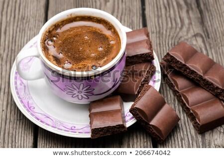 dois · chocolate · pó · grãos · de · café · colheres · branco - foto stock © rob_stark