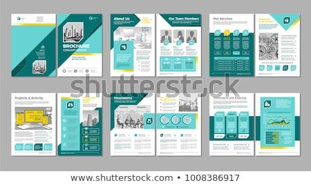 flyer · brochure · modello · modello · di · progettazione · azzurro · stile - foto d'archivio © helenstock