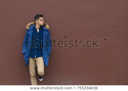 portré · gyönyörű · fiatal · izmos · férfi · dől - stock fotó © konradbak