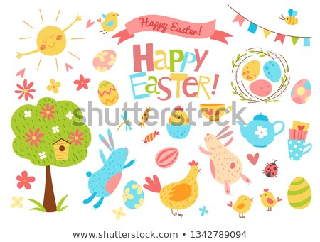 Easter hare with eggs Stock photo © ivonnewierink