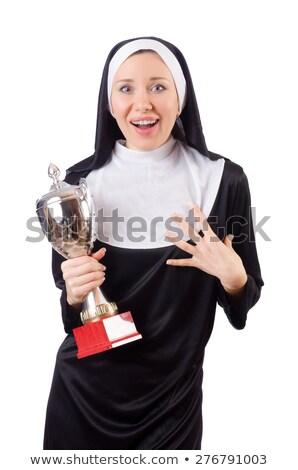 Güzel rahibe kazanan fincan yalıtılmış Stok fotoğraf © Elnur
