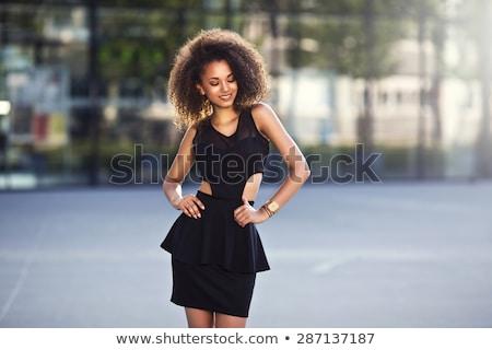 mooie · jonge · vrouw · mode · zwarte · jurk · portret - stockfoto © deandrobot